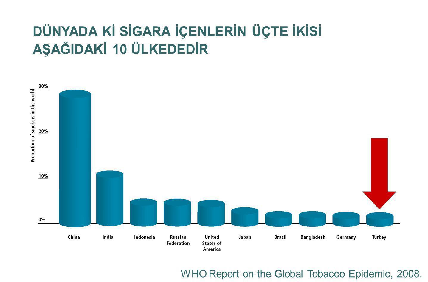 Etkin Tütün Kontrolü Fiyat : 30 puan Sigara yasak ve kısıtlaması: 22 puan Tütün kontrolüne kaynak : 15 puan Reklam yasağı: 13 puan Sigara bırakma: 10 puan Uyarı yazıları: 10 puan
