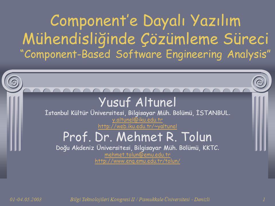 """01-04.05.2003Bilgi Teknolojileri Kongresi II / Pamukkale Üniversitesi - Denizli1 Component'e Dayalı Yazılım Mühendisliğinde Çözümleme Süreci """"Componen"""