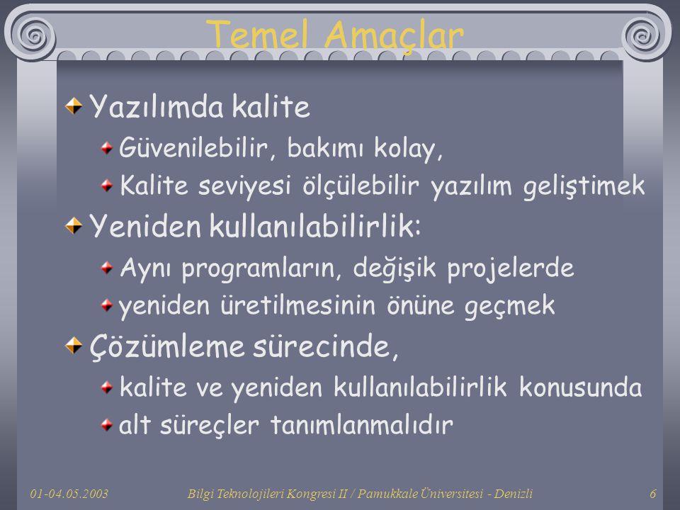 01-04.05.2003Bilgi Teknolojileri Kongresi II / Pamukkale Üniversitesi - Denizli6 Temel Amaçlar Yazılımda kalite Güvenilebilir, bakımı kolay, Kalite se