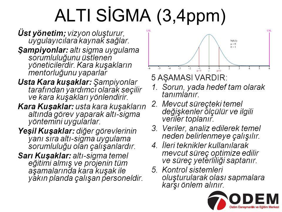 ALTI SİGMA (3,4ppm) Üst yönetim; vizyon oluşturur, uygulayıcılara kaynak sağlar. Şampiyonlar: altı sigma uygulama sorumluluğunu üstlenen yöneticilerdi