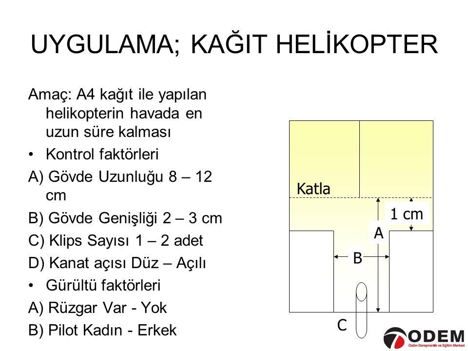 UYGULAMA; KAĞIT HELİKOPTER Amaç: A4 kağıt ile yapılan helikopterin havada en uzun süre kalması •Kontrol faktörleri A) Gövde Uzunluğu 8 – 12 cm B) Gövd