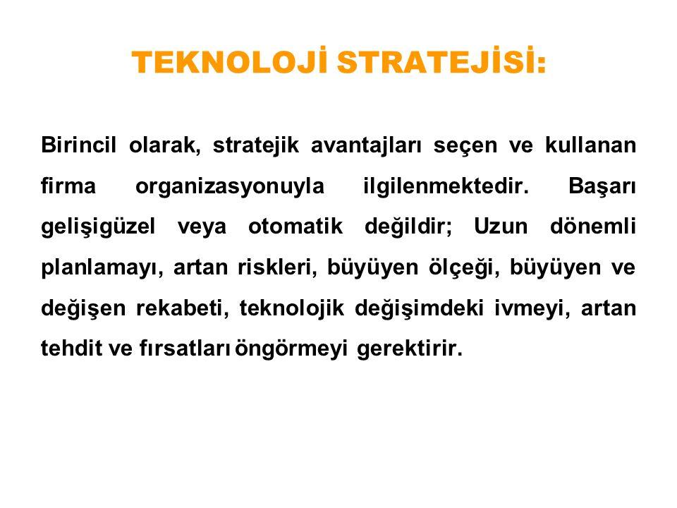 TEKNOLOJİ STRATEJİSİ: Birincil olarak, stratejik avantajları seçen ve kullanan firma organizasyonuyla ilgilenmektedir. Başarı gelişigüzel veya otomati