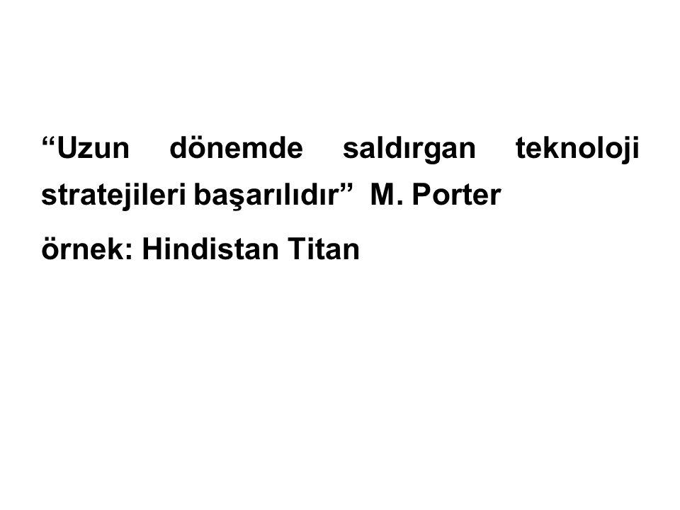 """""""Uzun dönemde saldırgan teknoloji stratejileri başarılıdır"""" M. Porter örnek: Hindistan Titan"""