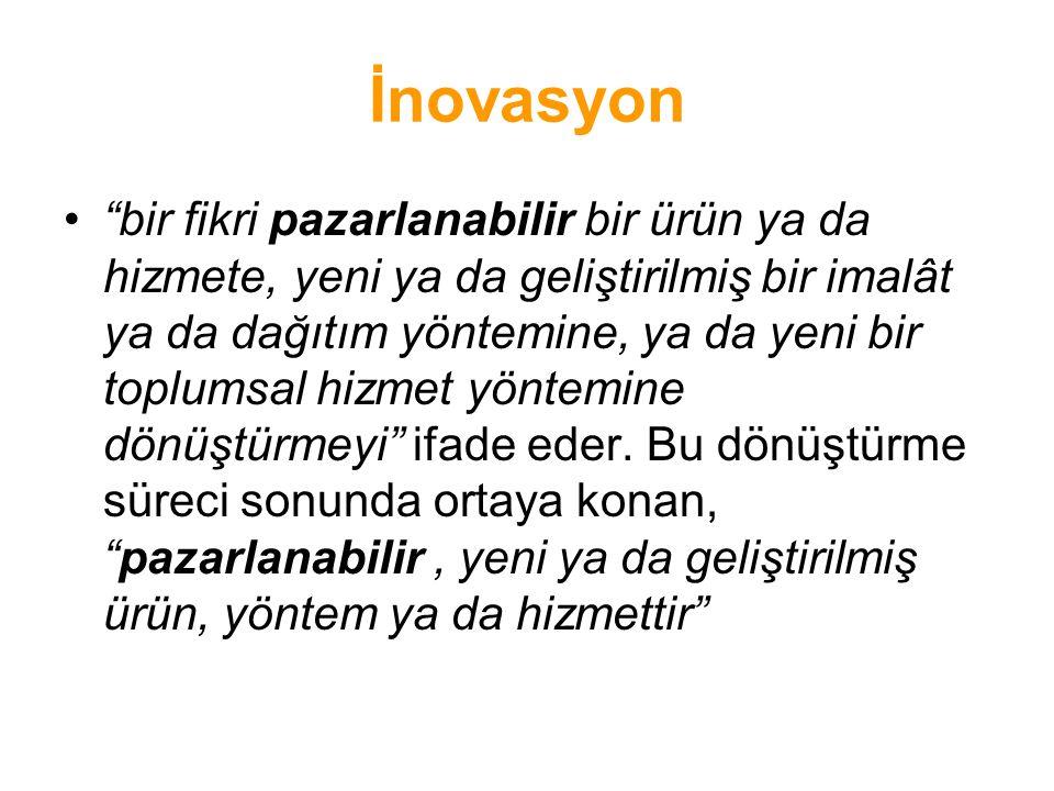 """İnovasyon •""""bir fikri pazarlanabilir bir ürün ya da hizmete, yeni ya da geliştirilmiş bir imalât ya da dağıtım yöntemine, ya da yeni bir toplumsal hiz"""