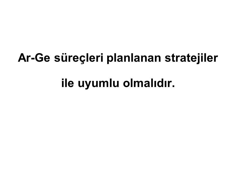 Ar-Ge süreçleri planlanan stratejiler ile uyumlu olmalıdır.