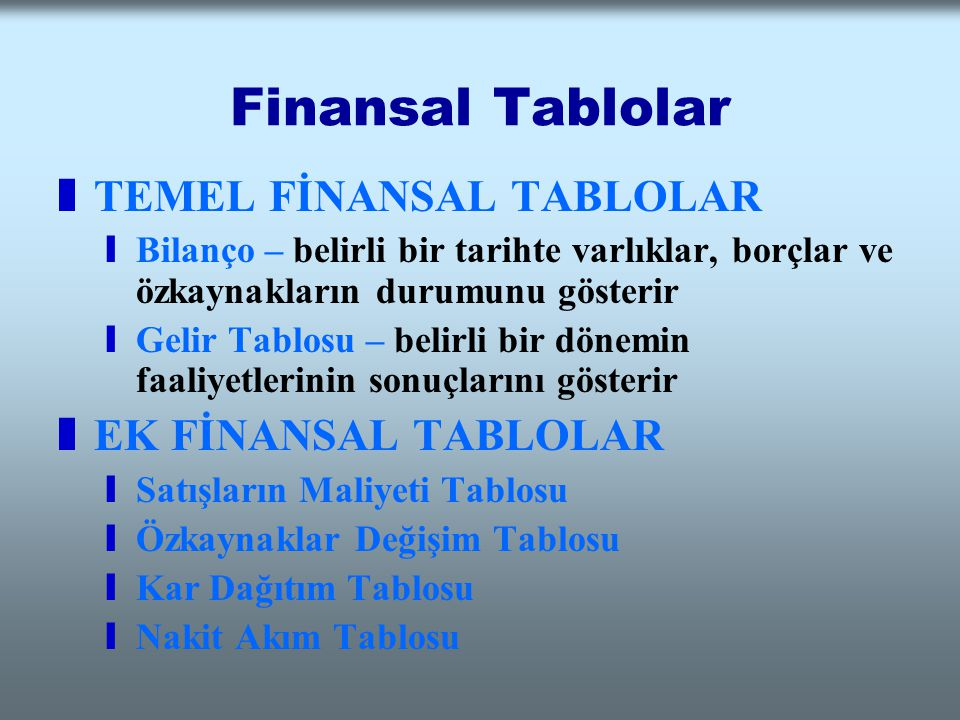 Finansal Tablolar zTEMEL FİNANSAL TABLOLAR yBilanço – belirli bir tarihte varlıklar, borçlar ve özkaynakların durumunu gösterir yGelir Tablosu – belir