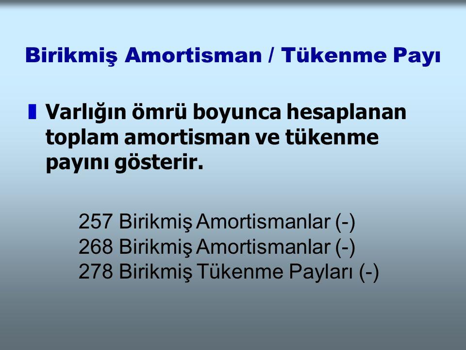 Birikmiş Amortisman / Tükenme Payı zVarlığın ömrü boyunca hesaplanan toplam amortisman ve tükenme payını gösterir. 257 Birikmiş Amortismanlar (-) 268
