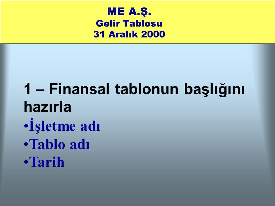 ME A.Ş. Gelir Tablosu 31 Aralık 2000 1 – Finansal tablonun başlığını hazırla •İşletme adı •Tablo adı •Tarih