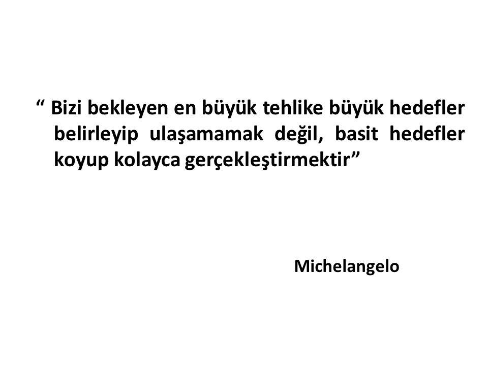 """"""" Bizi bekleyen en büyük tehlike büyük hedefler belirleyip ulaşamamak değil, basit hedefler koyup kolayca gerçekleştirmektir"""" Michelangelo"""