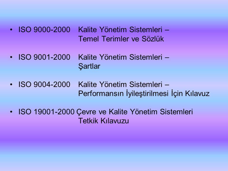 •ISO 9000-2000 Kalite Yönetim Sistemleri – Temel Terimler ve Sözlük •ISO 9001-2000 Kalite Yönetim Sistemleri – Şartlar •ISO 9004-2000 Kalite Yönetim S
