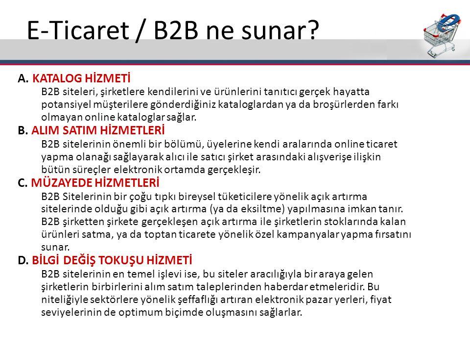E-Ticaret / B2B ne sunar? A. KATALOG HİZMETİ B2B siteleri, şirketlere kendilerini ve ürünlerini tanıtıcı gerçek hayatta potansiyel müşterilere gönderd