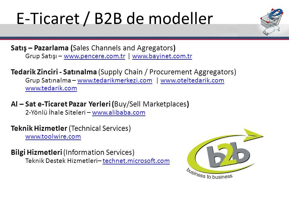 E-Ticaret / B2B de modeller Satış – Pazarlama (Sales Channels and Agregators) Grup Satışı – www.pencere.com.tr   www.bayinet.com.trwww.pencere.com.trw
