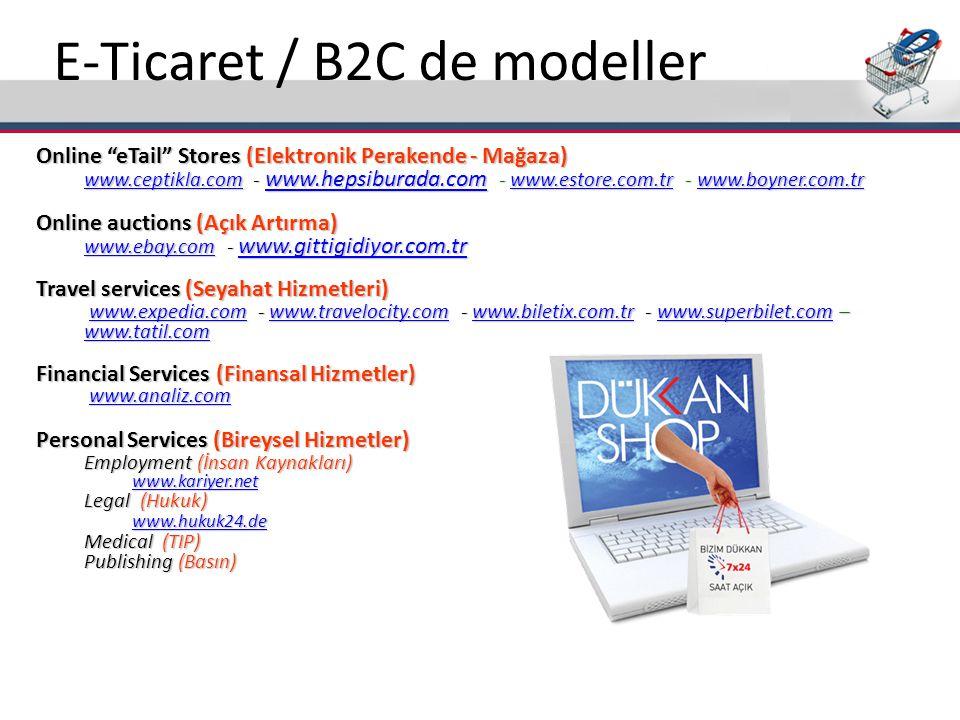 "E-Ticaret / B2C de modeller Online ""eTail"" Stores (Elektronik Perakende - Mağaza) www.ceptikla.comwww.ceptikla.com - www.hepsiburada.com - www.estore."