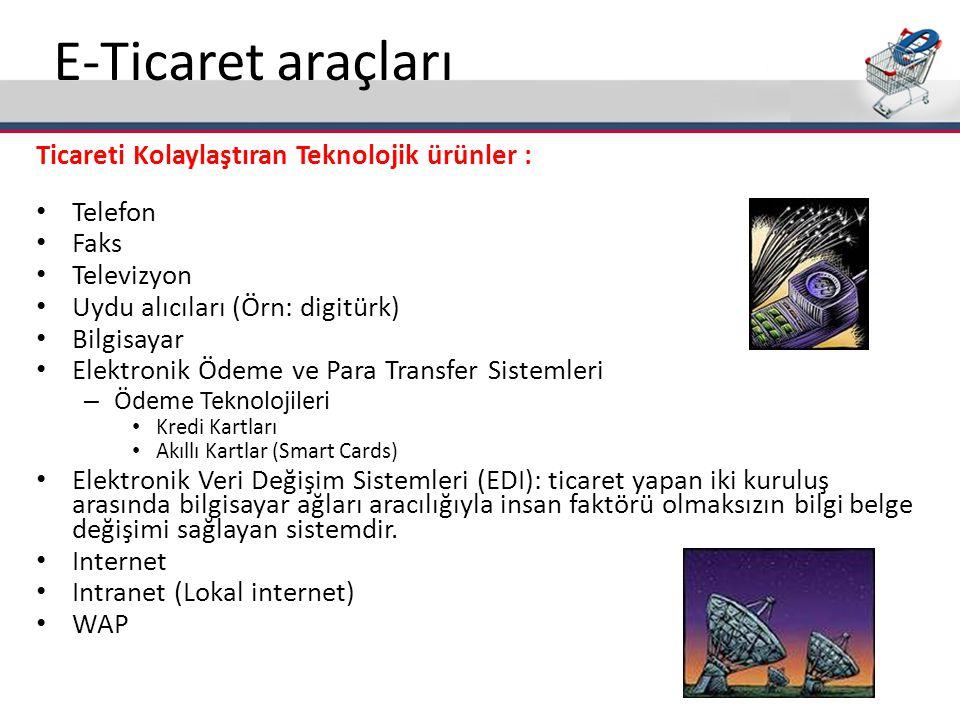 E-Ticaret araçları Ticareti Kolaylaştıran Teknolojik ürünler : • Telefon • Faks • Televizyon • Uydu alıcıları (Örn: digitürk) • Bilgisayar • Elektroni