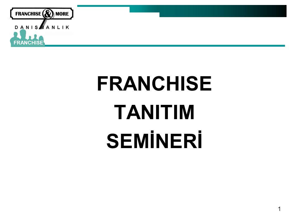 82 FRANCHISE İLİŞKİSİ •Denge –Güç, katkı, yarar dengeli olmalı –Beklenti karşılanmalı •Kullandırılan haklar –Marka, sistem, patent, know-how –Sipariş toplama - aktarma –Orada bulunma hakkı FRANCHISE
