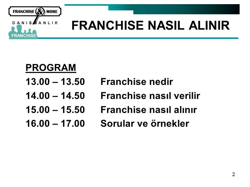 2 FRANCHISE NASIL ALINIR PROGRAM 13.00 – 13.50Franchise nedir 14.00 – 14.50Franchise nasıl verilir 15.00 – 15.50Franchise nasıl alınır 16.00 – 17.00So
