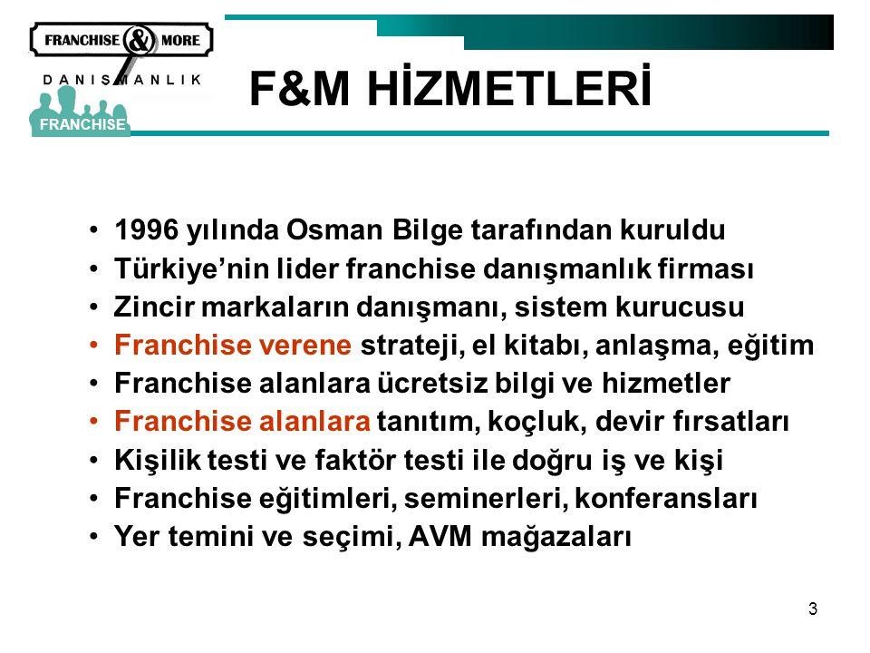3 F&M HİZMETLERİ •1996 yılında Osman Bilge tarafından kuruldu •Türkiye'nin lider franchise danışmanlık firması •Zincir markaların danışmanı, sistem ku