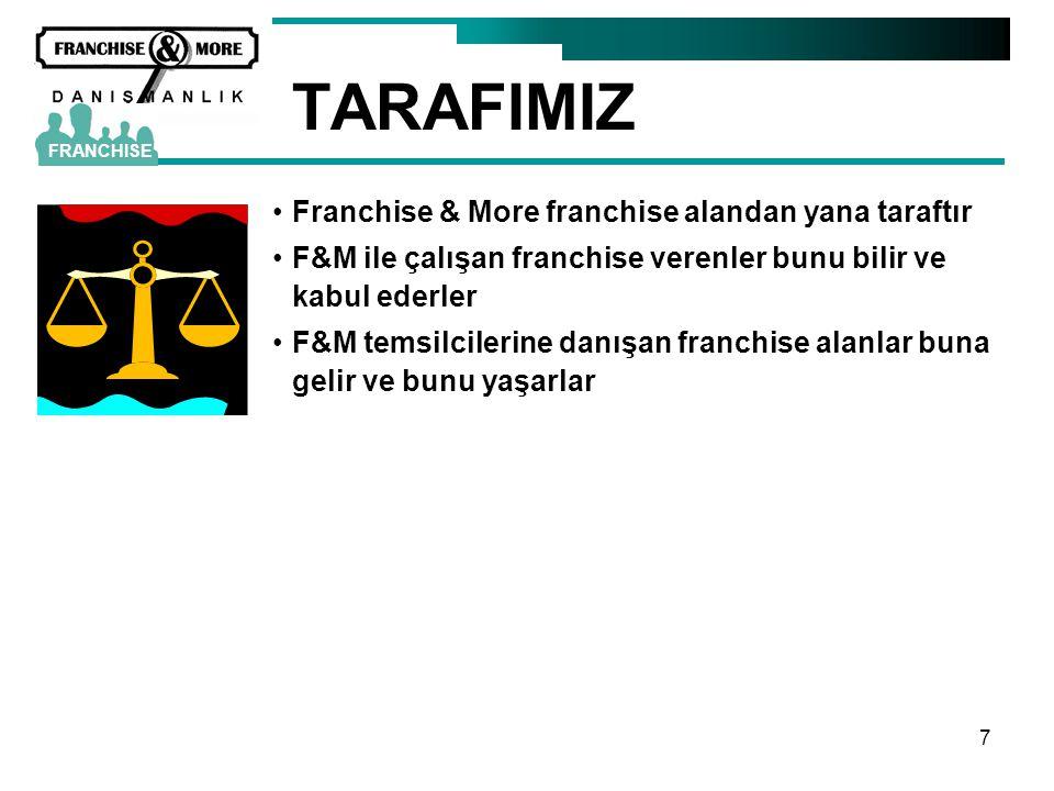7 TARAFIMIZ •Franchise & More franchise alandan yana taraftır •F&M ile çalışan franchise verenler bunu bilir ve kabul ederler •F&M temsilcilerine danı