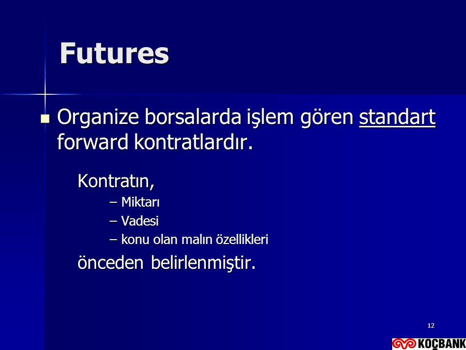 12 Futures  Organize borsalarda işlem gören standart forward kontratlardır. Kontratın, –Miktarı –Vadesi –konu olan malın özellikleri önceden belirlen