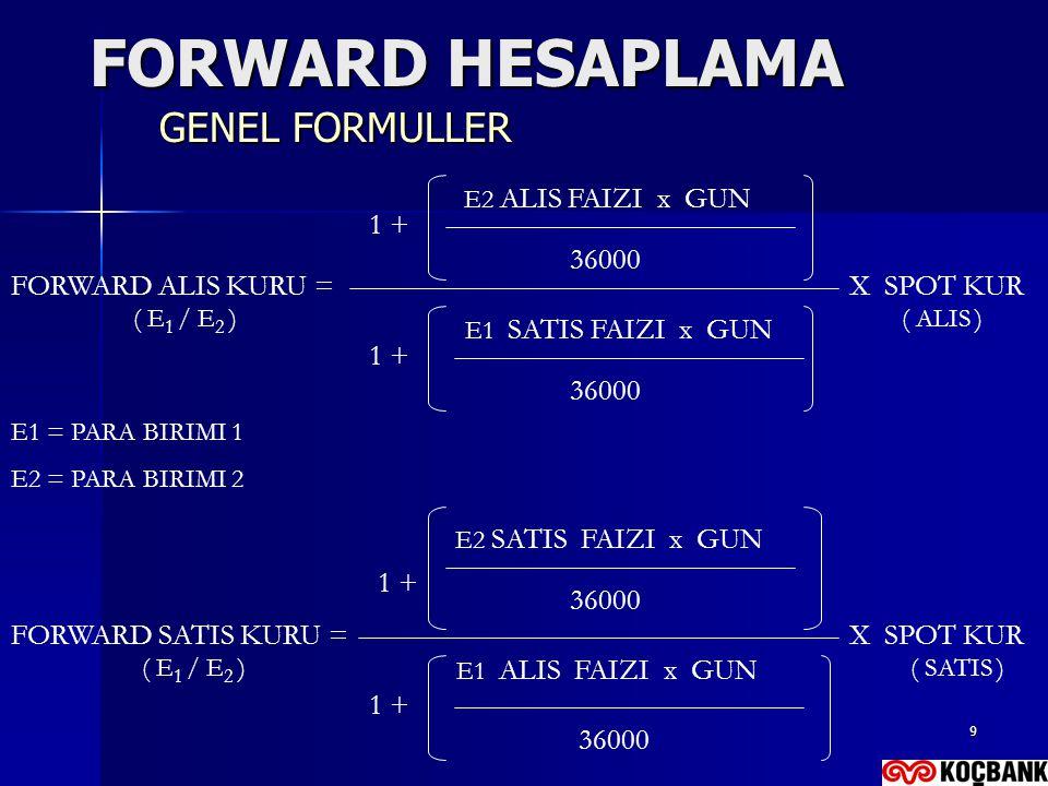 9 FORWARD HESAPLAMA GENEL FORMULLER FORWARD ALIS KURU = 1 + E2 ALIS FAIZI x GUN 36000 1 + E1 SATIS FAIZI x GUN 36000 X SPOT KUR ( E 1 / E 2 ) FORWARD