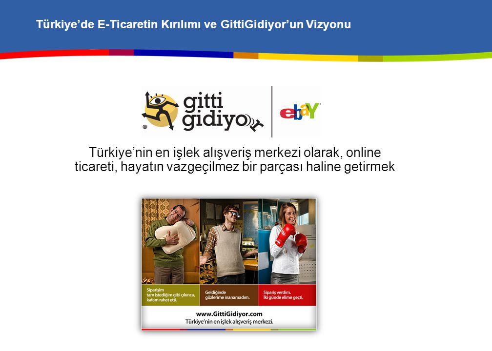 Türkiye'de E-Ticaretin Kırılımı ve GittiGidiyor'un Vizyonu Türkiye'nin en işlek alışveriş merkezi olarak, online ticareti, hayatın vazgeçilmez bir parçası haline getirmek