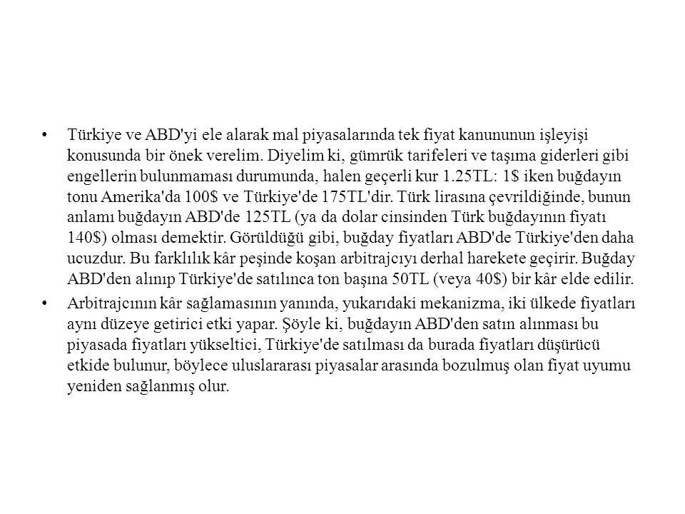 • Türkiye ve ABD'yi ele alarak mal piyasalarında tek fiyat kanununun işleyişi konusunda bir önek verelim. Diyelim ki, gümrük tarifeleri ve taşıma gide