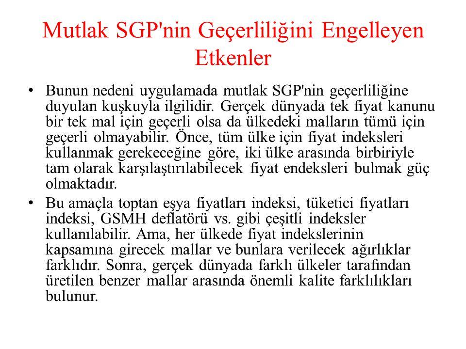 Mutlak SGP'nin Geçerliliğini Engelleyen Etkenler • Bunun nedeni uygulamada mutlak SGP'nin geçerliliğine duyulan kuşkuyla ilgilidir. Gerçek dünyada tek