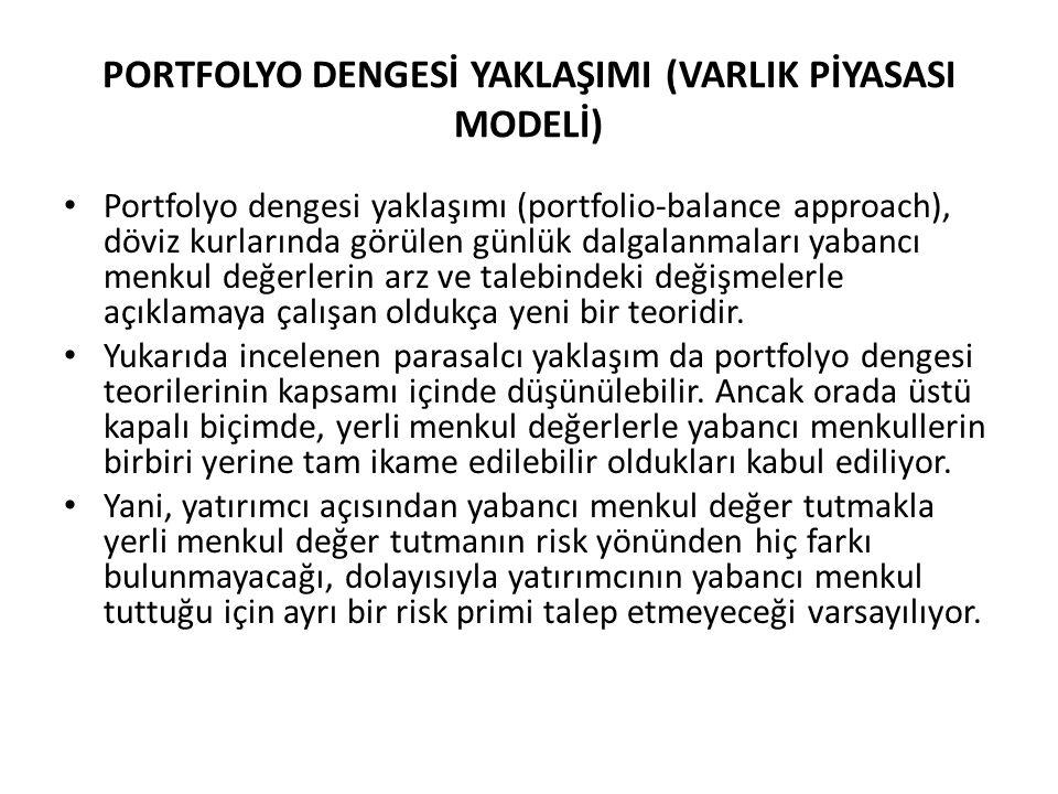 PORTFOLYO DENGESİ YAKLAŞIMI (VARLIK PİYASASI MODELİ) • Portfolyo dengesi yaklaşımı (portfolio-balance approach), döviz kurlarında görülen günlük dalga