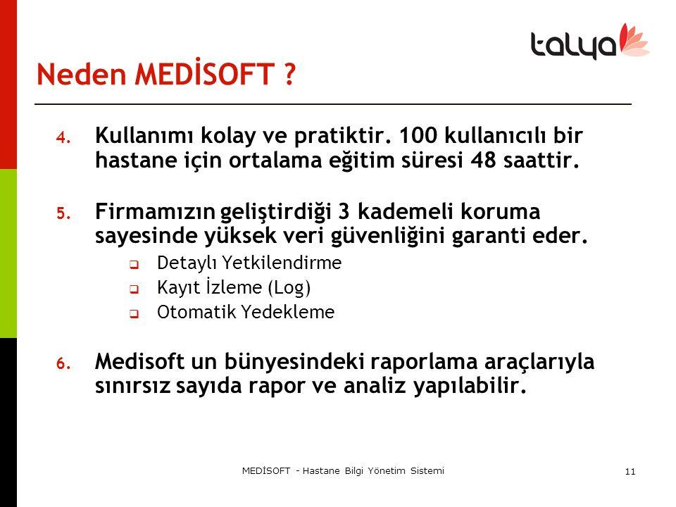 MEDİSOFT - Hastane Bilgi Yönetim Sistemi 11 Neden MEDİSOFT ? 4. Kullanımı kolay ve pratiktir. 100 kullanıcılı bir hastane için ortalama eğitim süresi