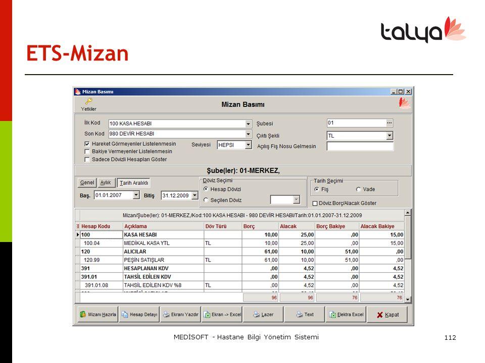 ETS-Mizan MEDİSOFT - Hastane Bilgi Yönetim Sistemi 112