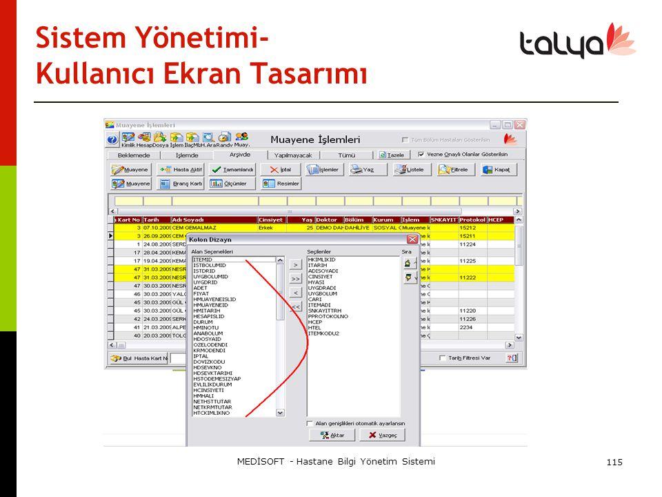 Sistem Yönetimi- Kullanıcı Ekran Tasarımı MEDİSOFT - Hastane Bilgi Yönetim Sistemi 115