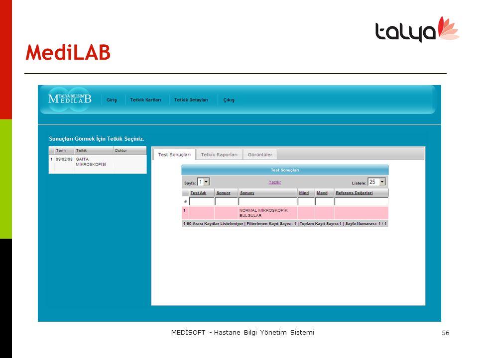 MediLAB MEDİSOFT - Hastane Bilgi Yönetim Sistemi 56