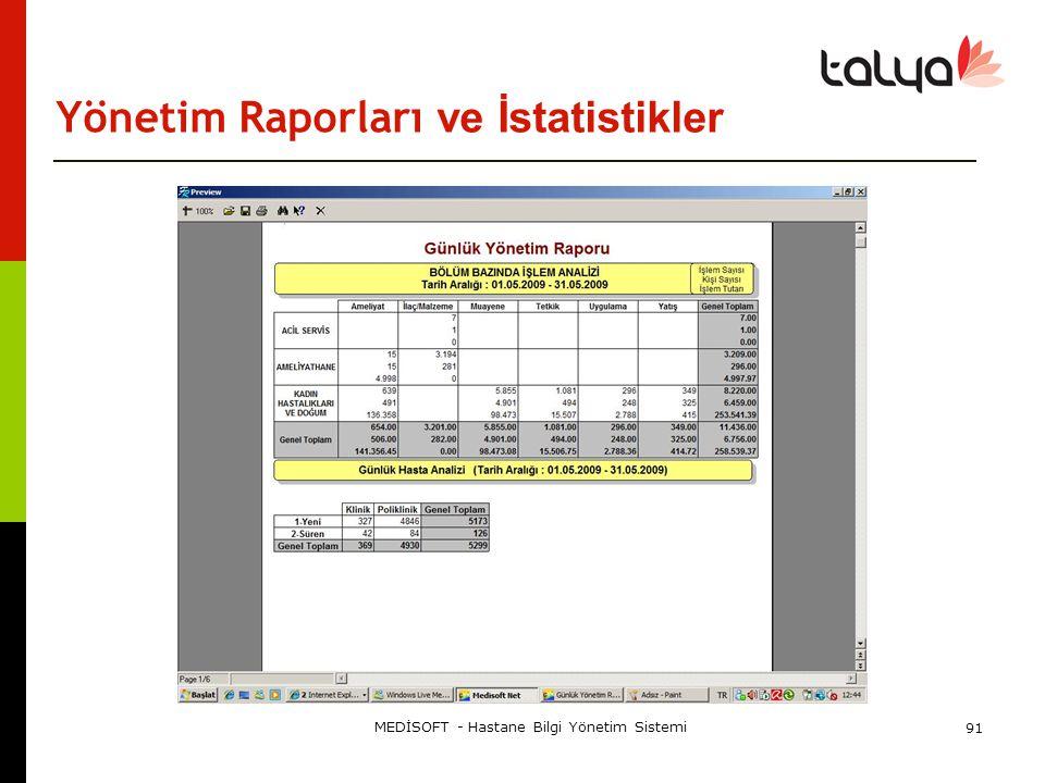 Yönetim Raporları ve İstatistikler MEDİSOFT - Hastane Bilgi Yönetim Sistemi 91