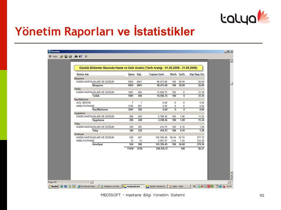 Yönetim Raporları ve İstatistikler MEDİSOFT - Hastane Bilgi Yönetim Sistemi 92