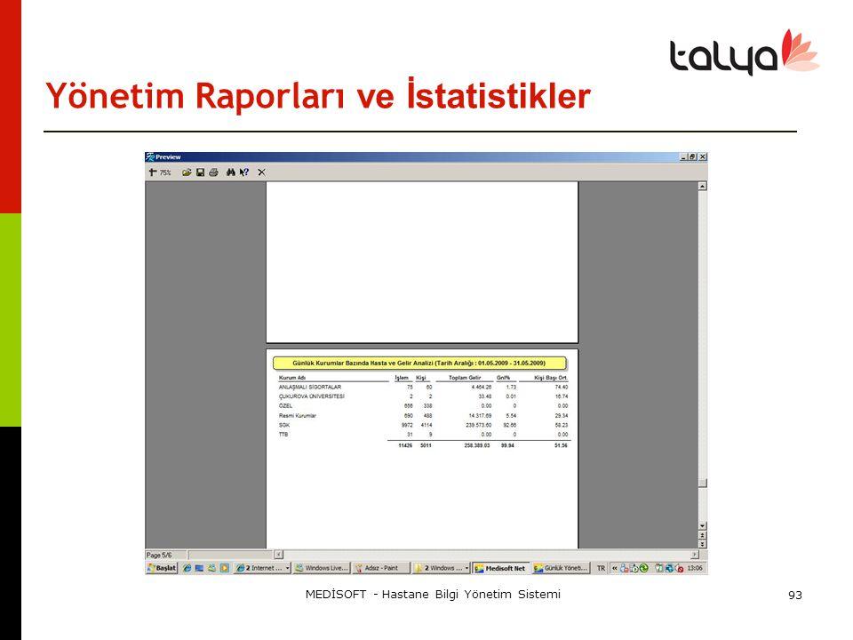 Yönetim Raporları ve İstatistikler MEDİSOFT - Hastane Bilgi Yönetim Sistemi 93