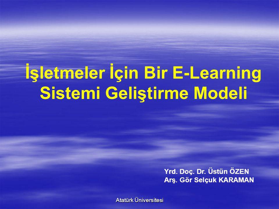 Atatürk Üniversitesi İşletmeler İçin Bir E-Learning Sistemi Geliştirme Modeli Yrd. Doç. Dr. Üstün ÖZEN Arş. Gör Selçuk KARAMAN