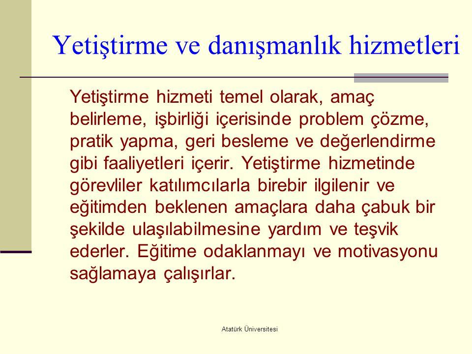 Atatürk Üniversitesi Yetiştirme ve danışmanlık hizmetleri Yetiştirme hizmeti temel olarak, amaç belirleme, işbirliği içerisinde problem çözme, pratik
