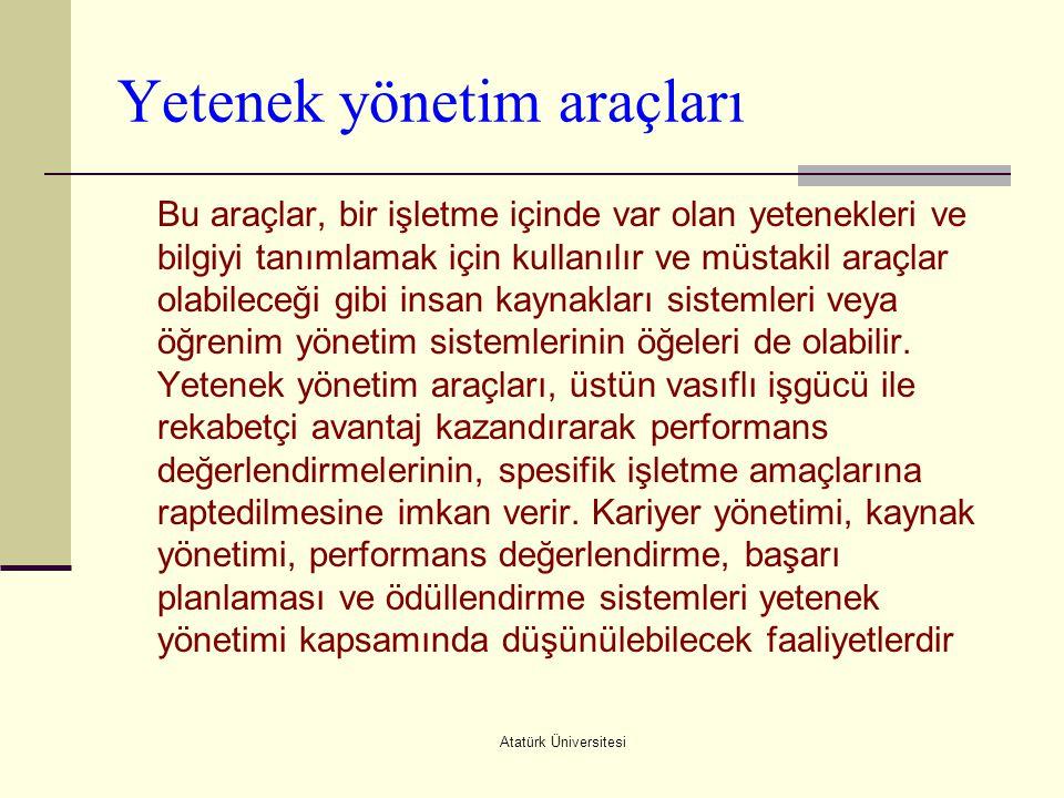 Atatürk Üniversitesi Yetenek yönetim araçları Bu araçlar, bir işletme içinde var olan yetenekleri ve bilgiyi tanımlamak için kullanılır ve müstakil ar