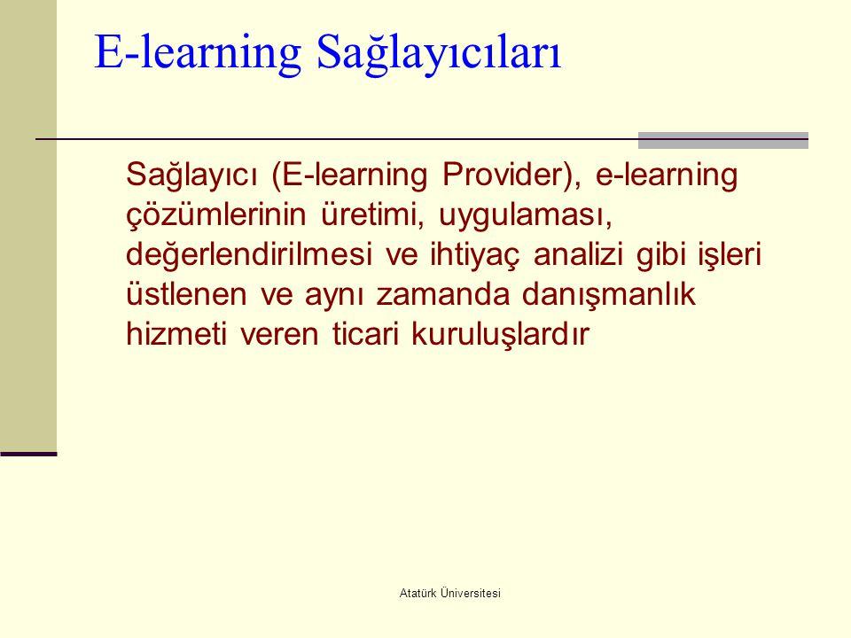 Atatürk Üniversitesi E-learning Sağlayıcıları Sağlayıcı (E-learning Provider), e-learning çözümlerinin üretimi, uygulaması, değerlendirilmesi ve ihtiy