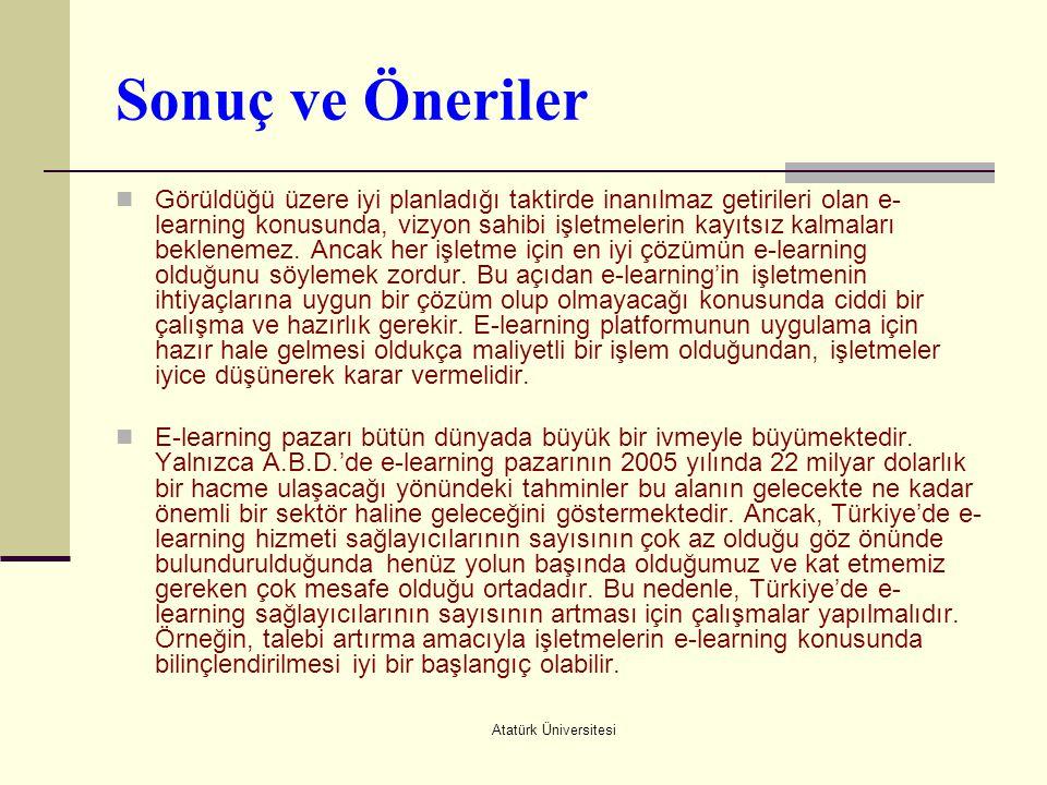 Atatürk Üniversitesi Sonuç ve Öneriler  Görüldüğü üzere iyi planladığı taktirde inanılmaz getirileri olan e- learning konusunda, vizyon sahibi işletm