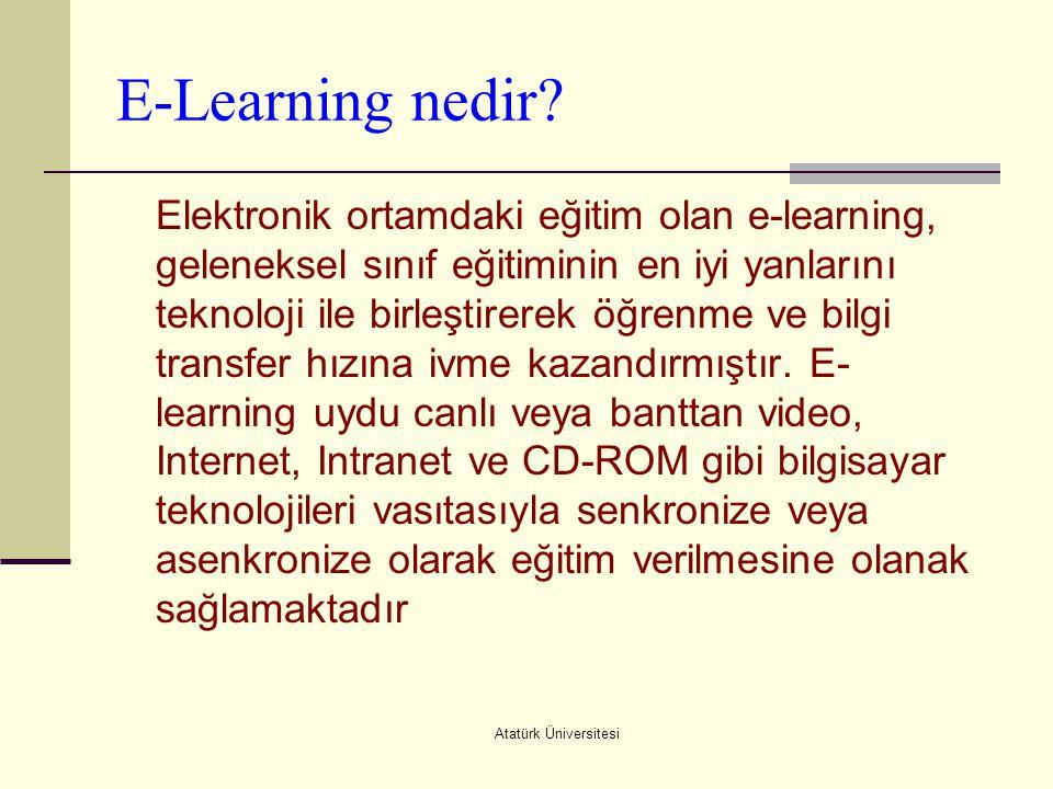Atatürk Üniversitesi E-Learning nedir? Elektronik ortamdaki eğitim olan e-learning, geleneksel sınıf eğitiminin en iyi yanlarını teknoloji ile birleşt