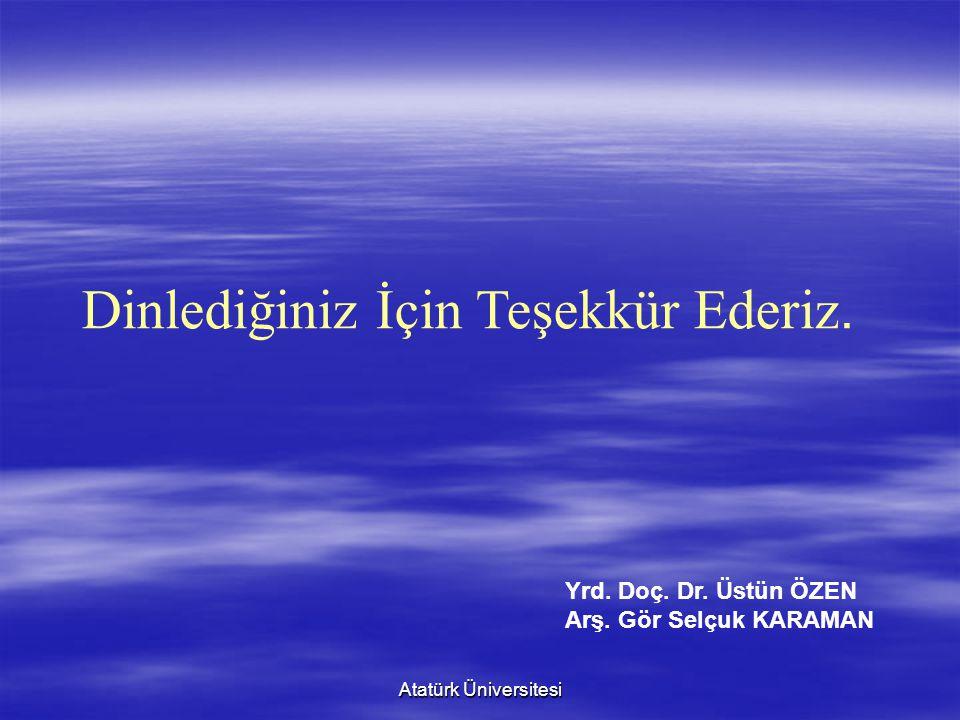 Atatürk Üniversitesi Dinlediğiniz İçin Teşekkür Ederiz. Yrd. Doç. Dr. Üstün ÖZEN Arş. Gör Selçuk KARAMAN