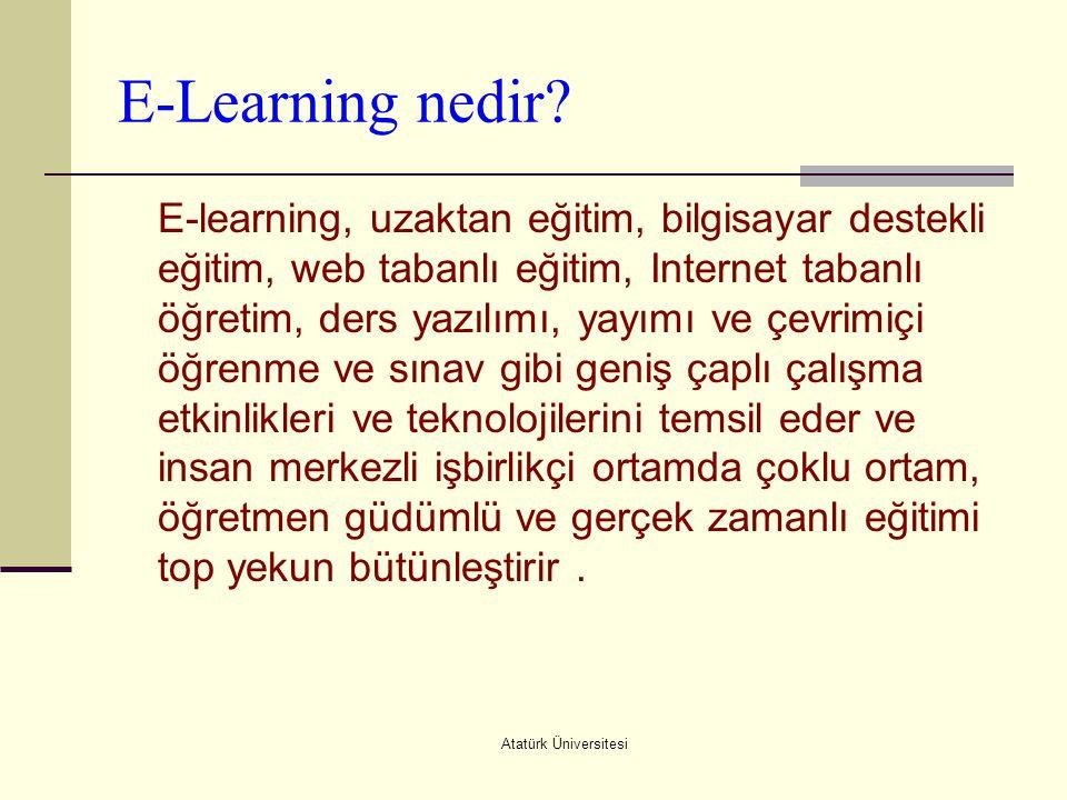 Atatürk Üniversitesi E-Learning nedir? E-learning, uzaktan eğitim, bilgisayar destekli eğitim, web tabanlı eğitim, Internet tabanlı öğretim, ders yazı