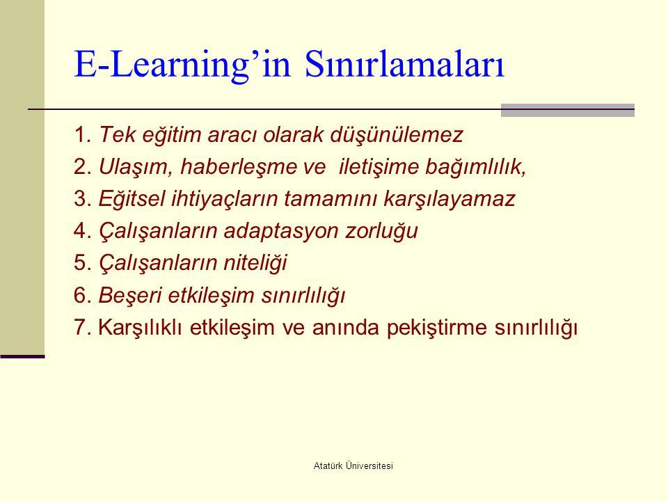 Atatürk Üniversitesi E-Learning'in Sınırlamaları 1. Tek eğitim aracı olarak düşünülemez 2. Ulaşım, haberleşme ve iletişime bağımlılık, 3. Eğitsel ihti