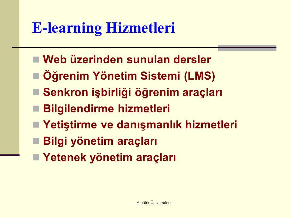 Atatürk Üniversitesi E-learning Hizmetleri  Web üzerinden sunulan dersler  Öğrenim Yönetim Sistemi (LMS)  Senkron işbirliği öğrenim araçları  Bilg