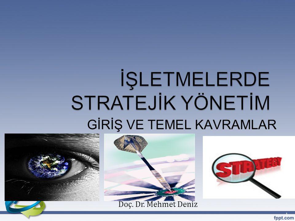 Stratejik Yönetim Ders Planı 22Doç. Dr. Mehmet Deniz