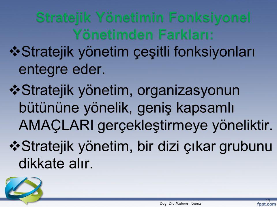  Stratejik yönetim çeşitli fonksiyonları entegre eder.  Stratejik yönetim, organizasyonun bütününe yönelik, geniş kapsamlı AMAÇLARI gerçekleştirmeye