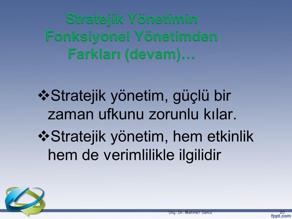  Stratejik yönetim, güçlü bir zaman ufkunu zorunlu kılar.  Stratejik yönetim, hem etkinlik hem de verimlilikle ilgilidir Doç. Dr. Mehmet Deniz20