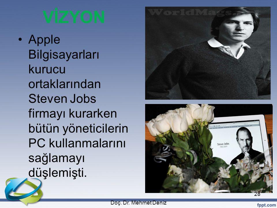 VİZYON •Apple Bilgisayarları kurucu ortaklarından Steven Jobs firmayı kurarken bütün yöneticilerin PC kullanmalarını sağlamayı düşlemişti. Doç. Dr. Me