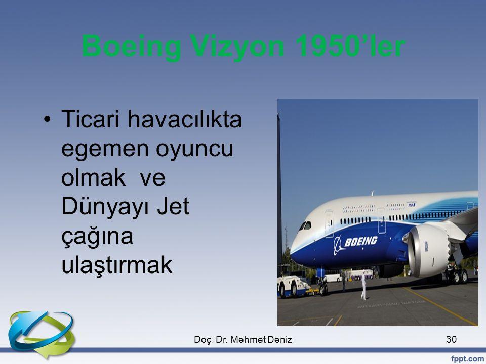 Boeing Vizyon 1950'ler •Ticari havacılıkta egemen oyuncu olmak ve Dünyayı Jet çağına ulaştırmak 30Doç. Dr. Mehmet Deniz